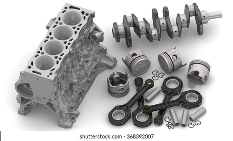Engine parts lie on a white surface. Details of the internal combustion engine lying on a white surface. The three-dimensional illustration. Isolated