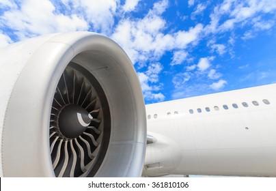 engine of passenger airplane