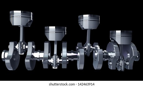Engine pistons and cog isolated on black background High resolution 3D render