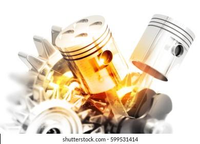 Engine pistons on technology background. 3d illustration