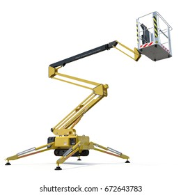 Engine Powered Scissor Lift on white. 3D illustration, clipping path