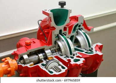 Engine pump water exploded view of firefighting machine hydraulics tool of fire engine. Engine pump water overview or cross section of firefighting truck equipment. Engine exploded view for background