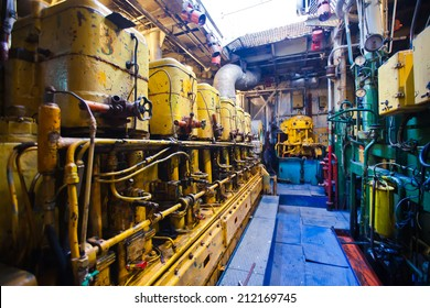Engine room on a cargo boat ship