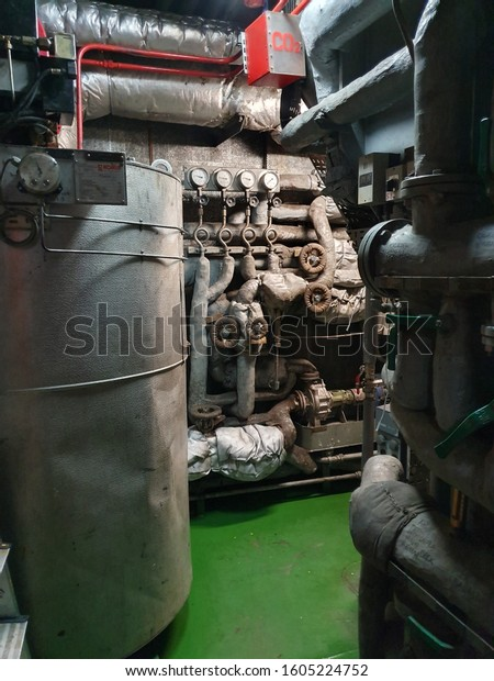 Engine room in rescue vessel