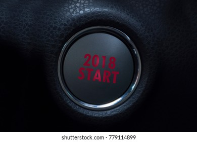 Engine Start Button  2018 . Concept of new year,
