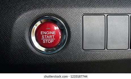 Engine start and stop button functions in the car, Automatically shuts down and restarts engine system, Close up