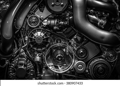 Engine.Close-up. Black and white.