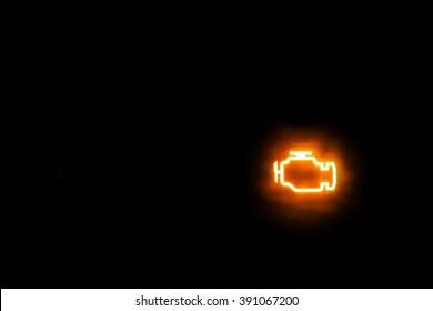Engine/Emissions warning light show on a black background