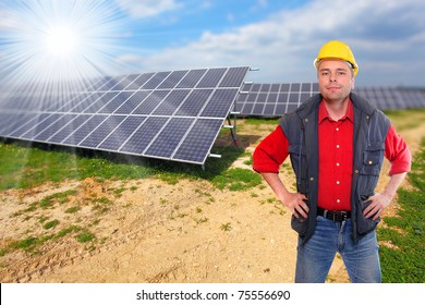 Engineer against solar panels.