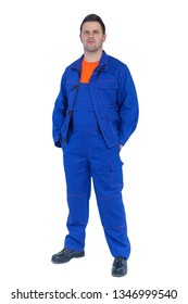 Engineer with blue suit on white background, isolated