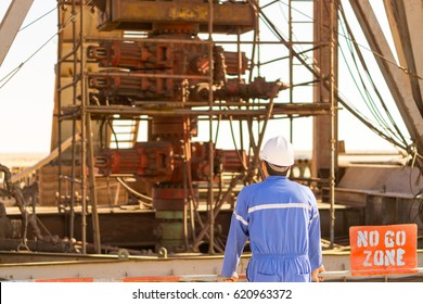 An engineer check the blowout preventer stack
