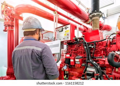 Engineer check generator pump for water sprinkler piping and fire protection system.