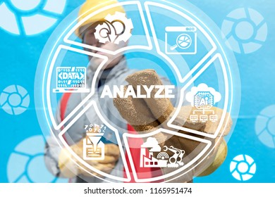 Engineer clicks a analyze word button on a virtual panel. Analyze Industry Data concept. Industrial Information. Analyzing Manufacturing.