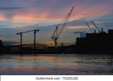 Engineer construction view of twilightt background.