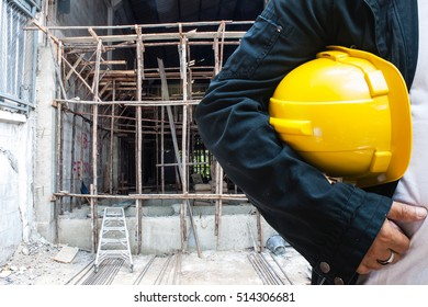 engineer contractor wood scaffolding background