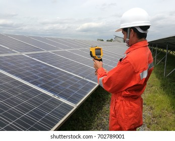 engineer or electrician checking and resolve problem of generate power at solar power plant