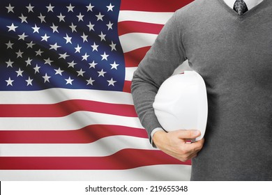 Engineer with flag on background  - United States of America