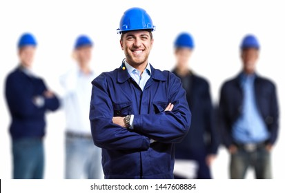 Engineer in front of his team