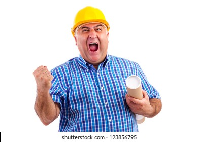 Engineer with hard hat screaming of joy against white background