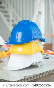 Engineer helmets at construction site for safty