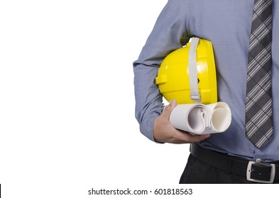 engineer holding yellow helmet for workers security, isolated over white background.