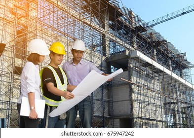 Engineer inspects construction sites.
