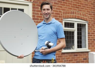 Engineer Installing TV Satellite Dish