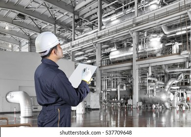 Engineer maintenance record a boiler equipments and machinery in a modern thermal power plant
