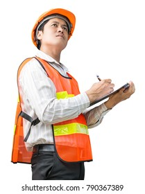 Engineer man in the safety uniform with note record for inspect isolated on white background with clipping path