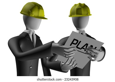 Engineer and manager of construction site talking about the real estate crisis 3d illustration isolated on white background
