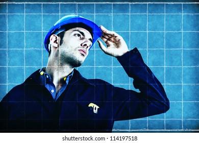 Engineer on a blueprint