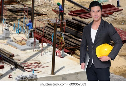 engineer on Construction site backgrounds.
