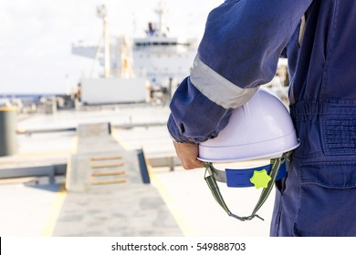 Engineer on the deck of the ship.