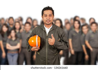 engineer with  open hand ready to seal a deal