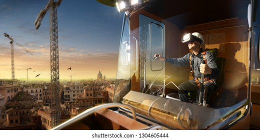 Engineer operator crane trying VR headset and exploring another world Around beautiful sunset