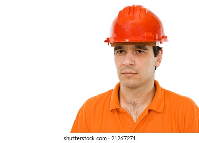 Engineer with orange shirt and red hat - isolated