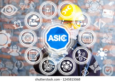 Engineer pushing a asic text button on a virtual panel. Industrial mine crypto currency production. Digital money bitcoin mining farm.