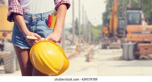 Engineer ready for work on a construction site.