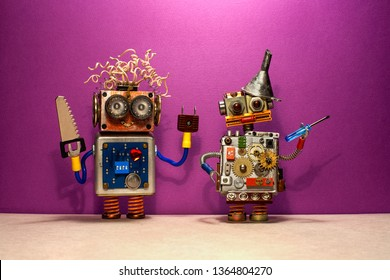 Engineer repair service poster. Two robots serviceman with hand saw and screwdriver tools. Purple wall background
