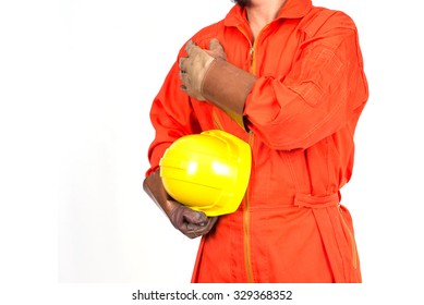 engineer in safety suit holding yellow helmet for workers security on isolate