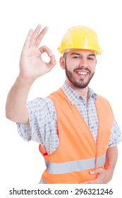 Constructor or engineer showing ok perfect gesture while smiling on white background