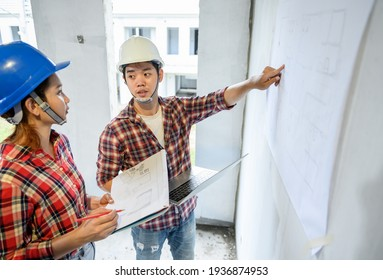 Engineer team discuss and working at construction property site. Inspection at village project and estate building.