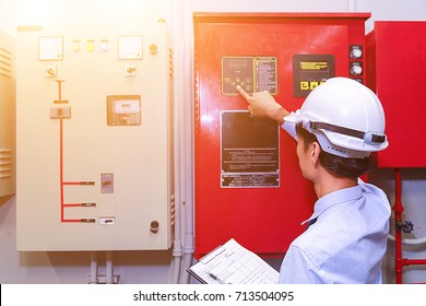 Engineer test fire extinguisher  panel, Industrial fire control system.