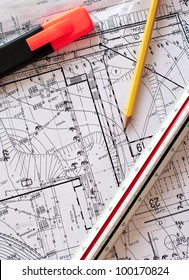 engineer tools on a blueprints. drawing instruments