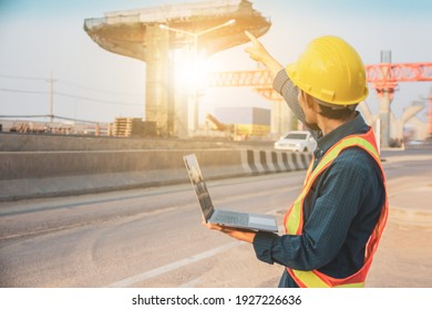 Engineer use computer laptop, Worker architecture check building construction project development