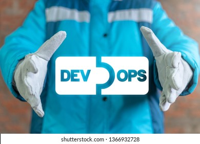 Engineer uses on a virtual screen and offers a dev ops puzzle icon. DEVOPS development operations industry work brainstorm concept.