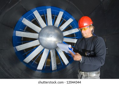 Engineer Calling Front Huge Rotor Blades Stock Photo (Edit Now