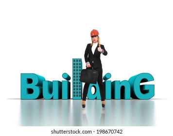 Engineer  woman with briefcase showing thumb up