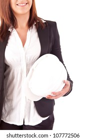 Engineer woman holding a white yellow helmet
