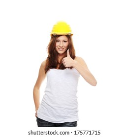 Engineer woman in yellow helmet isolated on white background